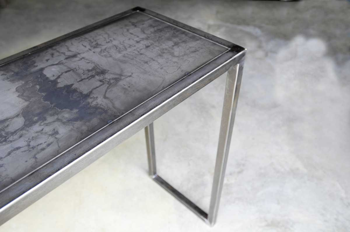 console acier. Black Bedroom Furniture Sets. Home Design Ideas